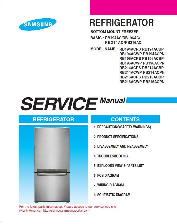 Samsung RB194ACRS Refrigerator Original Service Manual Download | eBooks | Technical