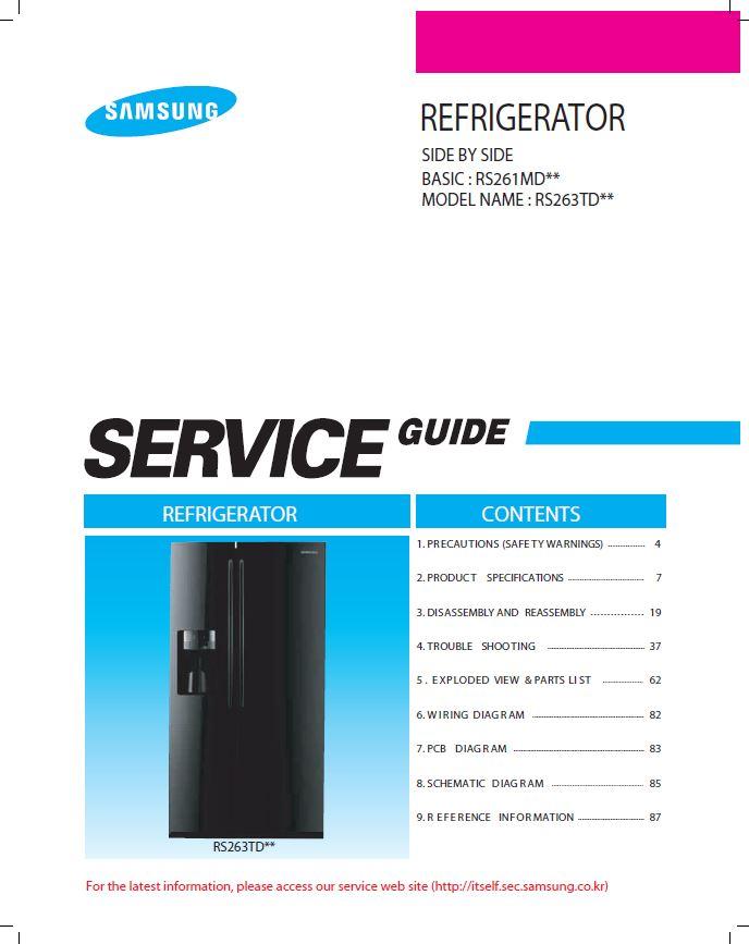 Samsung Rs263tdbp Refrigerator Original Service Manual