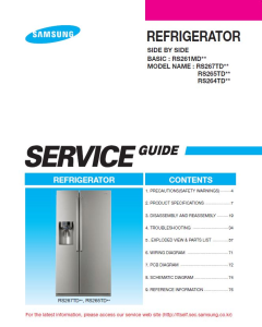 Samsung RS265TDBP Refrigerator Original Service Manual Download | eBooks | Technical