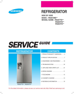 samsung rs267tdpn refrigerator original service manual download