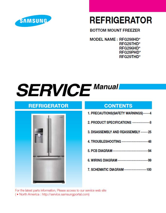 First Additional product image for - Samsung RFG298HDRS Refrigerator Original Service Manual Download