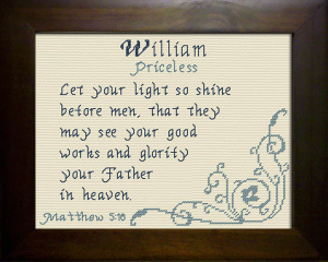 Name Blessings - William 3 | Crafting | Cross-Stitch | Religious