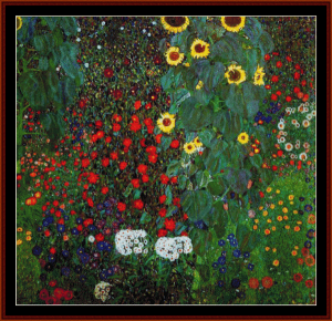 Farm Garden with Sunflowers II - Klimt cross stitch pattern by Cross Stitch Collectibles | Crafting | Cross-Stitch | Wall Hangings
