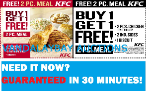kfc 2 pc meal b1g1 free buy one get one free coupon instant delivery (printable)