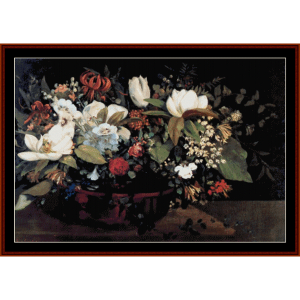 Basket of Flowers - Courbet cross stitch pattern by Cross Stitch Collectibles | Crafting | Cross-Stitch | Wall Hangings