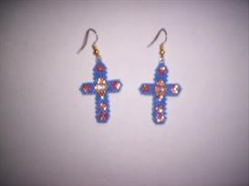 Brick Stitch Open Cross Delica Seed Beading Earring Pattern | Other Files | Arts and Crafts