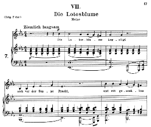 Die Lotosblume, Op.25 No.7, Medium Voice in E Flat Major, R. Schumann (Myrten), C.F. Peters | eBooks | Sheet Music