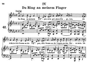 Du Ring an meinem Finger Op.42 No.4,  Medium Voice in E Flat Major, R. Schumann, C.F. Peters | eBooks | Sheet Music