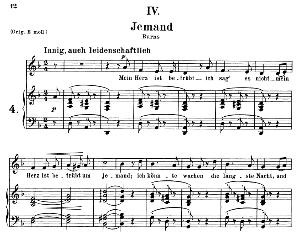Jemand Op.25 No.4, Medium Voice in D minor, R. Schumann (Myrten), C.F. Peters | eBooks | Sheet Music