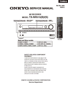 Onkyo TX-NR515 Receiver Original Service Manual Download | eBooks | Technical