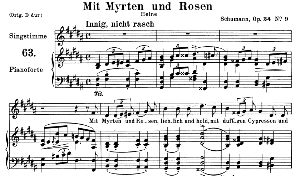 mit myrten und rosen op.24 no.9, medium voice in b major, r. schumann, c.f. peters