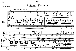 schöne fremde op.39 no.6, medium voice in a major, r. schumann (liederkreis), c.f. peters