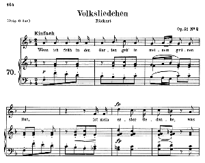 Volksliedchen Op.51 No.2, Medium Voice in F Major (Original Key),  R. Schumann, C.F. Peters | eBooks | Sheet Music