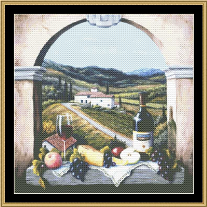 still life series - scene with a vineyard road