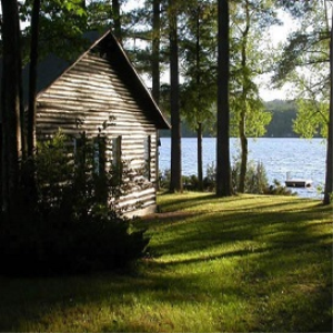 cabin by the lake imagery