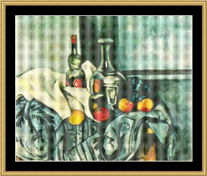 still life with peppermint bottle - cezanne