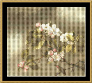 humming bird & apple blossoms - heade