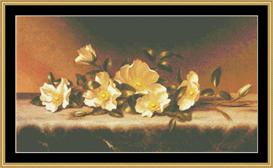 Roses On Gray Cloth - Heade | Crafting | Cross-Stitch | Wall Hangings