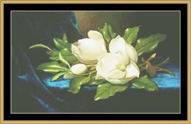 Magnolia On Blue Velvet - Heade | Crafting | Cross-Stitch | Wall Hangings