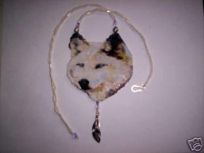 First Additional product image for - Brick Stitch Arctic/White Wolf Delica Seed Beading Pendant Pattern