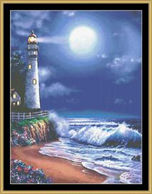 Midnight Lighthouse | Crafting | Cross-Stitch | Wall Hangings