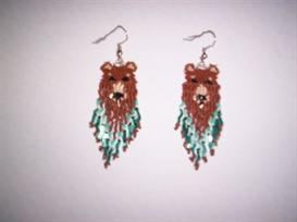 Brick Stitch Grizzly Bear Delica Seed Beading Earring Pattern | Other Files | Arts and Crafts