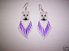 Brick Stitch Polar Bear Delica Seed Beading Fringe Earring Pattern | Other Files | Arts and Crafts