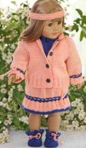 dollknittingpatterns - 0112d inger lise - sweater, skirt, jacket, pants, socks and hairband