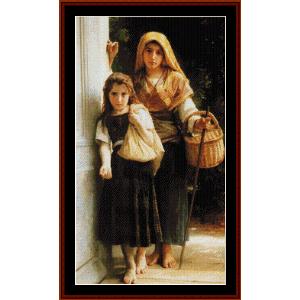little beggar, 1890 - bouguereau cross stitch pattern by cross stitch collectibles