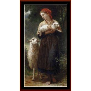 the sheperdess - bouguereau cross stitch pattern by cross stitch collectibles