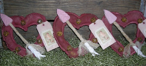505 primitive valentine heart & arrow ornies pattern