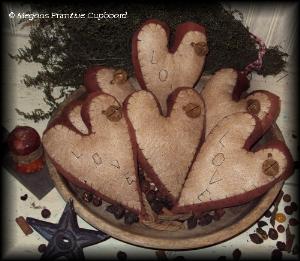 508 primitive valentine heart ornies/ bowl fillers pattern epattern