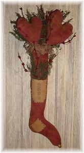 509 primitive valentine hearts and stocking lamp door hanger pattern epattern