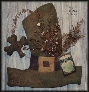 830 primitive st patrick hat  and shamrock door hanger doll pattern