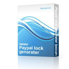 Paypal lock genarater (secure your paypal buttons from cyber theifs) resell rights | Software | Developer