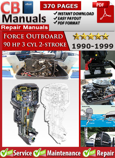 Force outboard 90 hp 90hp 3 cyl 2 stroke 1990 1999 service for Yamaha 90hp 2 stroke service manual