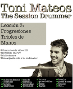 the session drummer. leccion 3. progresiones triples de mano