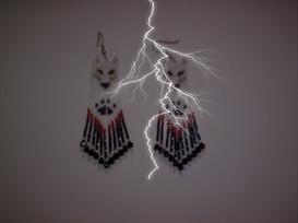 Brick Stitch White Wolf Delica Seed Beading Fringe Earring Pattern | Other Files | Arts and Crafts