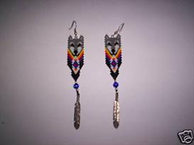 Brick Stitch Wolf Feather Delica Seed Beading Earring Pattern | Other Files | Arts and Crafts