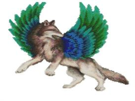 Brick Stitch Fantasy Winged Wolf Delica Seed Beading Pendant Pattern | Other Files | Arts and Crafts