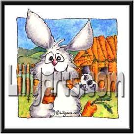 Carrot Bunny Rabbit Original Watercolor Mini Art Print   Other Files   Clip Art