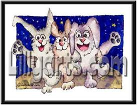 Moon Dance Bunny Rabbit Original Cartoon Mini Art Print | Other Files | Clip Art