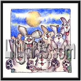 Full Moon Bunny Rabbit Original Cartoon Mini Art Print | Other Files | Clip Art