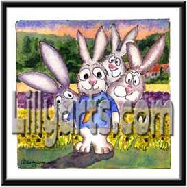 Sunflower Bunny Rabbit Original Cartoon Mini Art Print | Other Files | Clip Art