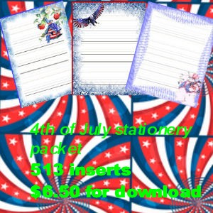4th of july stationery printable packet