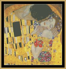 The Kiss  Detail - Klimt | Crafting | Cross-Stitch | Wall Hangings