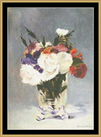 Flowers In Crystal Vase Ii - Manet | Crafting | Cross-Stitch | Wall Hangings