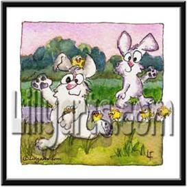 Chicks Bunny Rabbit Original Watercolor Mini Art Print | Other Files | Clip Art