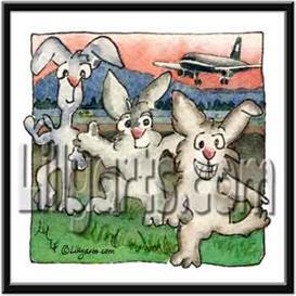 Hareport Bunny Rabbit Original Cartoon Mini Art Print | Other Files | Clip Art