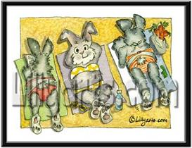 Beach Bunny Rabbit Original Watercolor Mini Art Print   Other Files   Clip Art